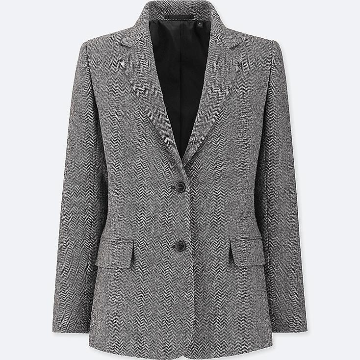 WOMEN TWEED JACKET, DARK GRAY, large