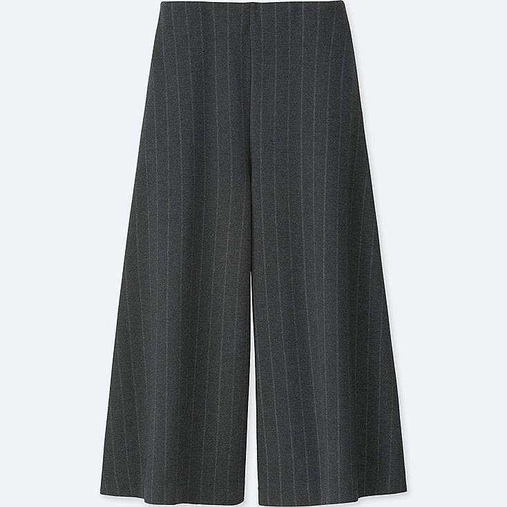 WOMEN PONTE FLARE CROPPED PANTS, DARK GRAY, large