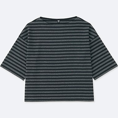 WOMEN STRIPED 3/4 WIDE SLEEVED T-SHIRT