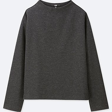 WOMEN WOOL-BLEND LONG-SLEEVE PULLOVER, DARK GRAY, medium