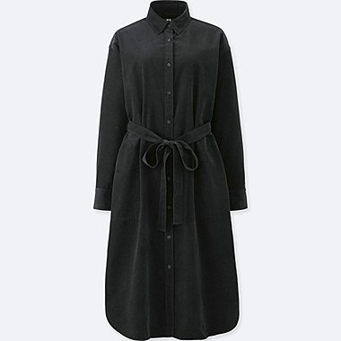WOMEN CORDUROY LONG SLEEVED SHIRT DRESS