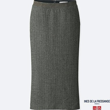 WOMEN SOFT TWEED SKIRT (INES DE LA FRESSANGE), DARK GRAY, medium