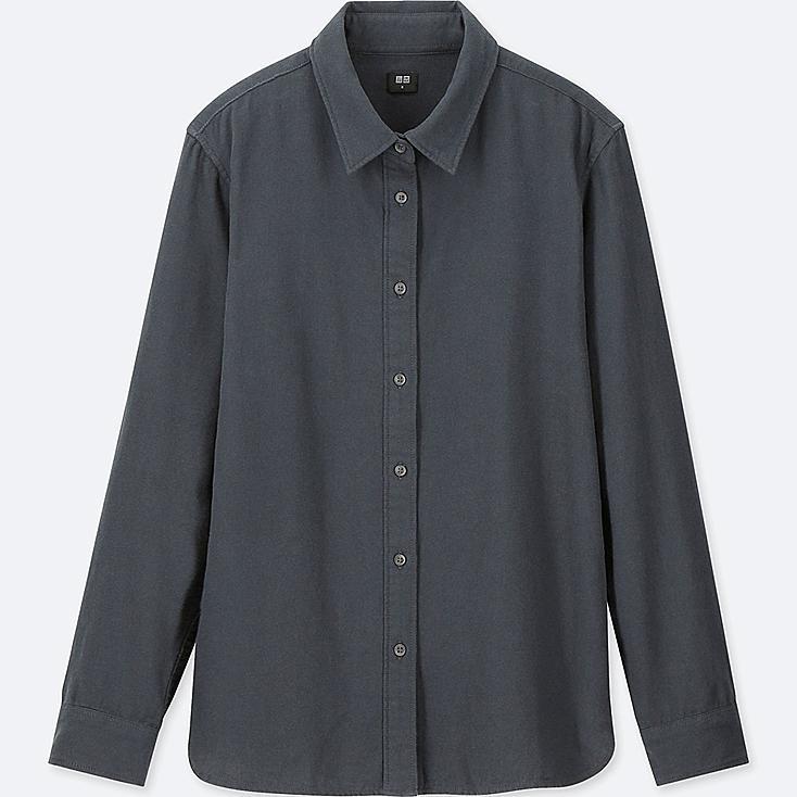 WOMEN Flannel Long Sleeve Shirt, DARK GRAY, large