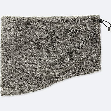 HEATTECH FURRY FLEECE NECK WARMER, DARK GRAY, medium