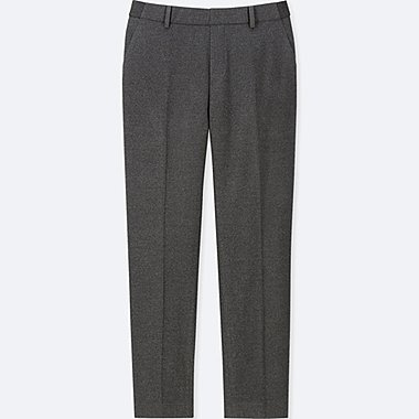 WOMEN EZY ANKLE-LENGTH FLANNEL PANTS, DARK GRAY, medium