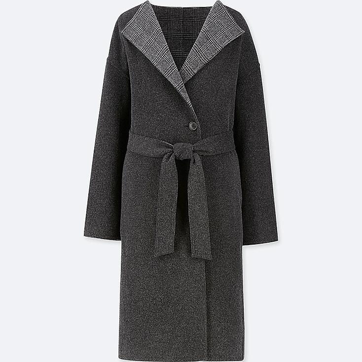 WOMEN DOUBLE FACE COLLARLESS COAT, DARK GRAY, large