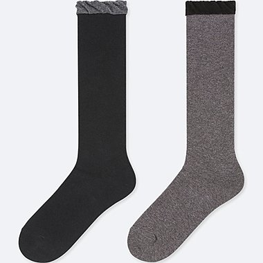 GIRLS KNEE HIGH SOCKS (SET OF 2), DARK GRAY, medium