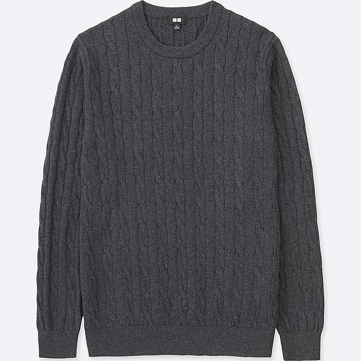 MEN COTTON CASHMERE CABLE LONG-SLEEVE SWEATER, DARK GRAY, large