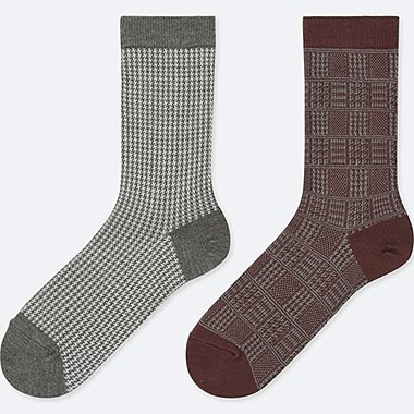 WOMEN HEATTECH HOUNDSTOOTH SOCKS (2 PAIRS), DARK GRAY, medium