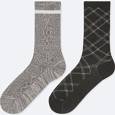 WOMEN HEATTECH CABLE SOCKS (2 PAIRS), DARK GRAY, medium