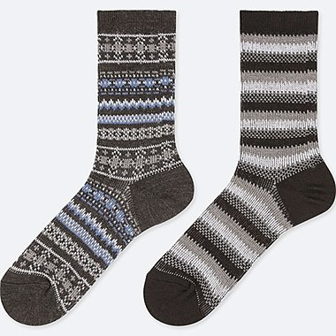 WOMEN HEATTECH SOCKS (2 PAIRS/FAIRISLE)