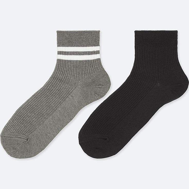 WOMEN HEATTECH CREW RIBBED SOCKS (2 PAIRS), DARK GRAY, large