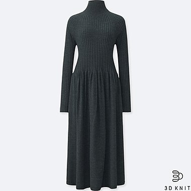 WOMEN 3D EXTRA FINE MERINO RIBBED LONG-SLEEVE DRESS, DARK GRAY, medium