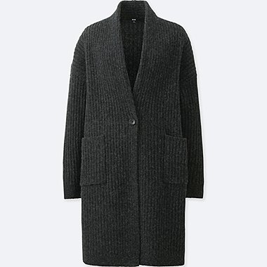 WOMEN WOOL RIBBED KNITTED COAT, DARK GRAY, medium