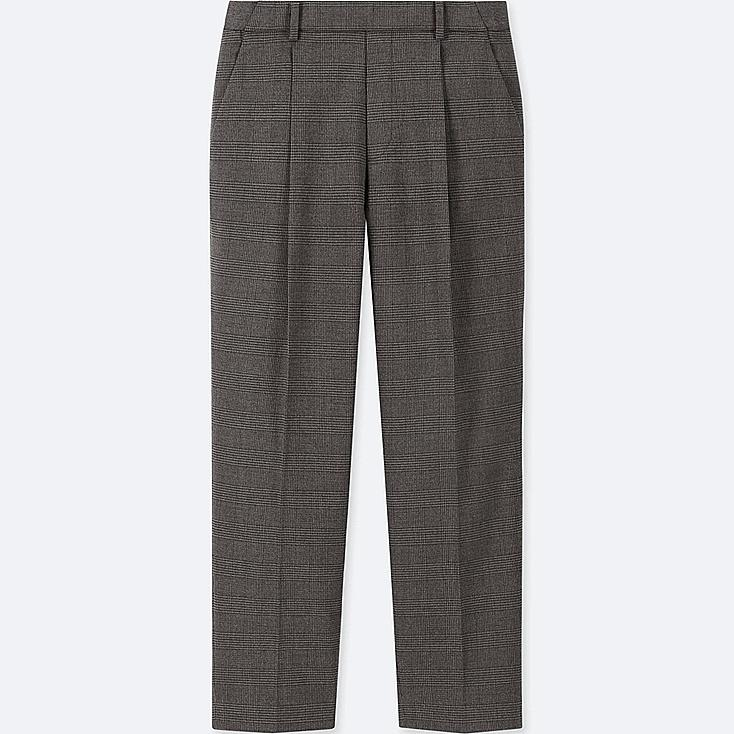 WOMEN EZY TUCKED ANKLE-LENGTH PANTS (GLEN CHECK), DARK GRAY, large
