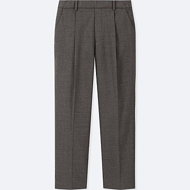 WOMEN EZY TUCKED ANKLE-LENGTH PANTS (GLEN CHECK), DARK GRAY, medium