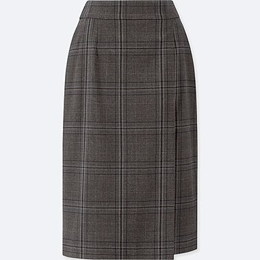 WOMEN CHECK NARROW SKIRT (HIGH WAIST)