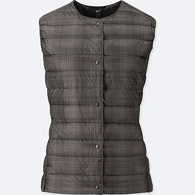 WOMEN ULTRA LIGHT DOWN COMPACT PRINTED VEST, DARK GRAY, medium