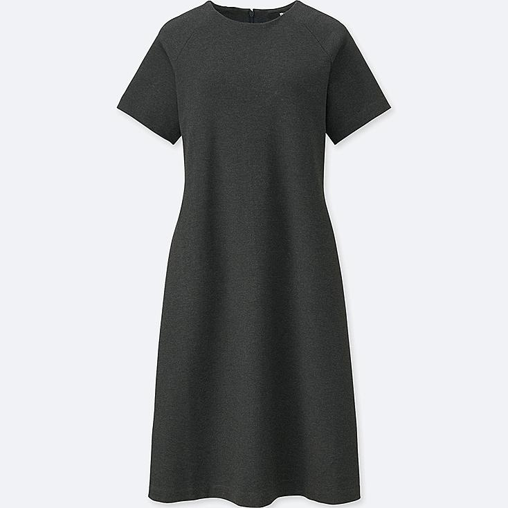 WOMEN PONTE SHORT-SLEEVE DRESS, DARK GRAY, large