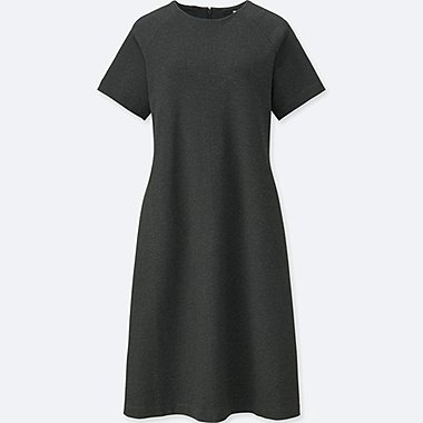 WOMEN PONTE KNIT SHORT SLEEVED MINI DRESS