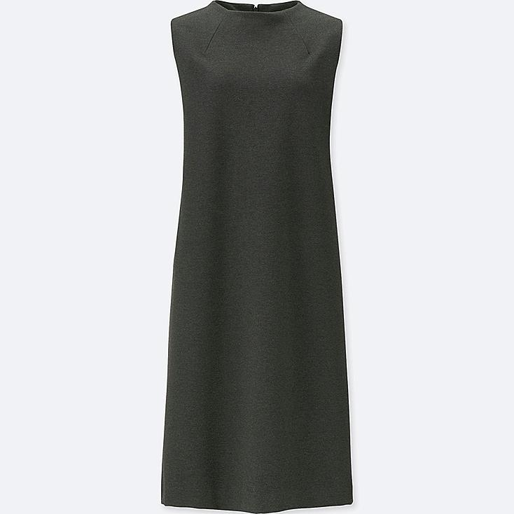 WOMEN PONTE SLEEVELESS DRESS, DARK GRAY, large