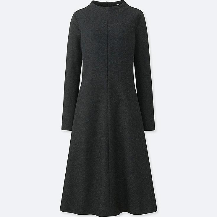 WOMEN WOOL-BLEND LONG-SLEEVE DRESS, DARK GRAY, large