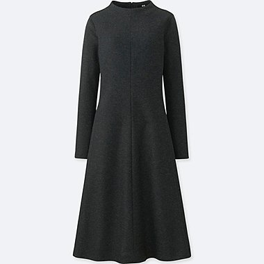 WOMEN WOOL-BLEND LONG-SLEEVE DRESS, DARK GRAY, medium