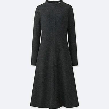 WOMEN WOOL BLEND MOCK NECK DRESS
