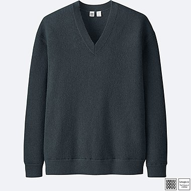 MEN UNIQLO U WOOL V NECK LONG SLEEVE SWEATER