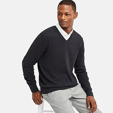 MEN SUPIMA® COTTON V-NECK LONG-SLEEVE SWEATER, DARK GRAY, medium