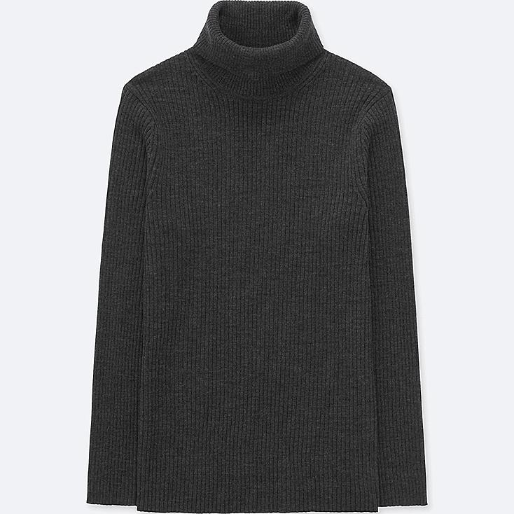 MEN RIBBED TURTLENECK LONG-SLEEVE SWEATER (ONLINE EXCLUSIVE), DARK GRAY, large