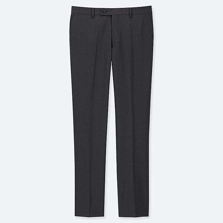 MEN STRETCH WOOL FLAT FRONT PANTS, DARK GRAY, large