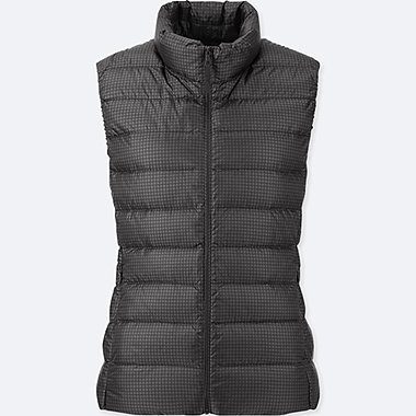 WOMEN ULTRA LIGHT DOWN PRINTED VEST, DARK GRAY, medium