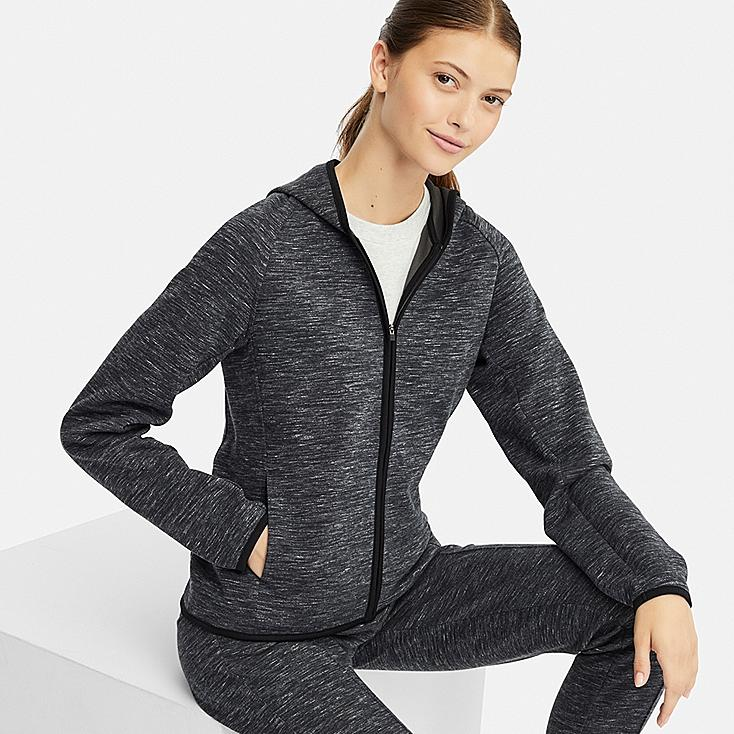 WOMEN LONG-SLEEVE DRY SWEAT FULL-ZIP HOODIE, DARK GRAY, large