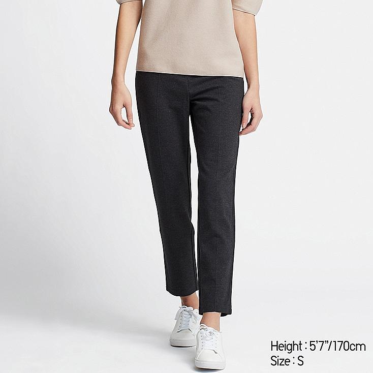 WOMEN PONTE SLIM PANTS, DARK GRAY, large