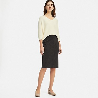 WOMEN PONTE KNIT PENCIL SKIRT