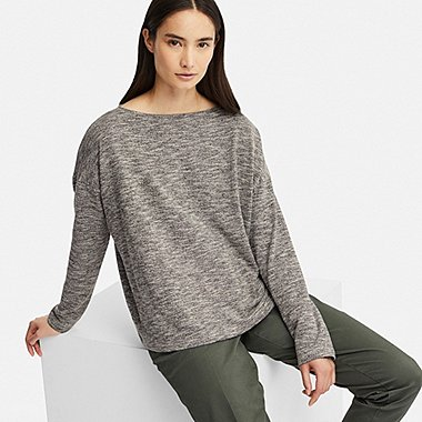 WOMEN STRETCH SLUB JERSEY BOAT NECK LONG-SLEEVE T-SHIRT, DARK GRAY, medium