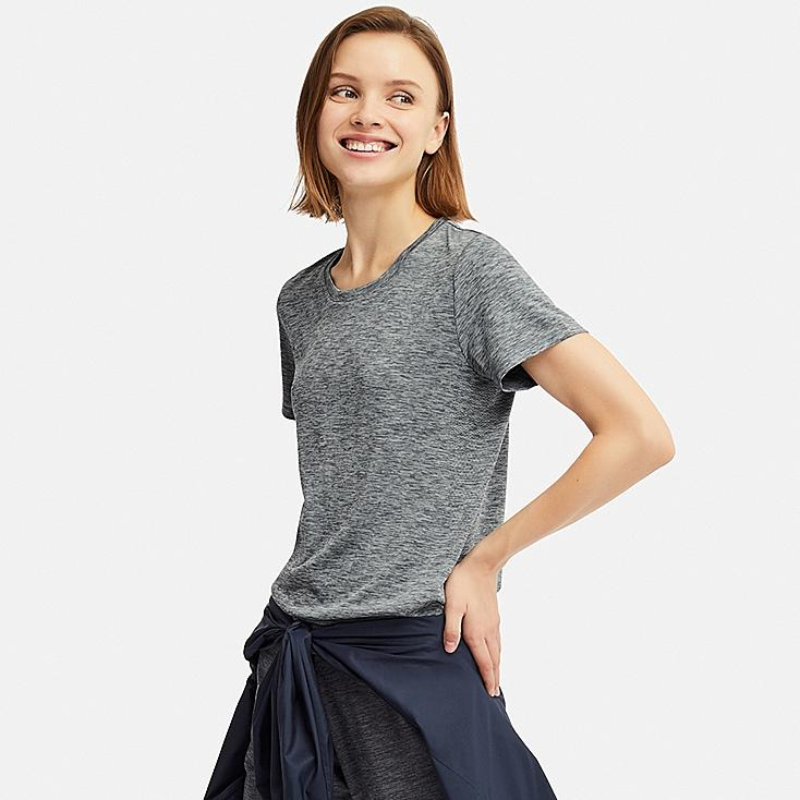 WOMEN DRY-EX CREW NECK SHORT-SLEEVE T-SHIRT, DARK GRAY, large