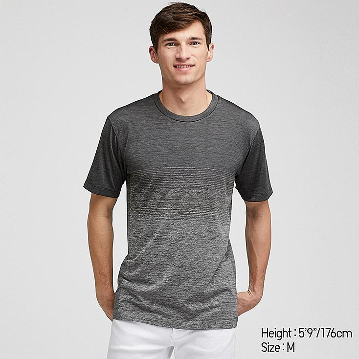MEN DRY-EX CREW NECK SHORT-SLEEVE T-SHIRT, DARK GRAY, large