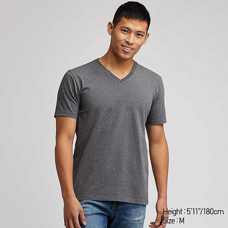 MEN SUPIMA® COTTON V-NECK SHORT-SLEEVE T-SHIRT, DARK GRAY, large