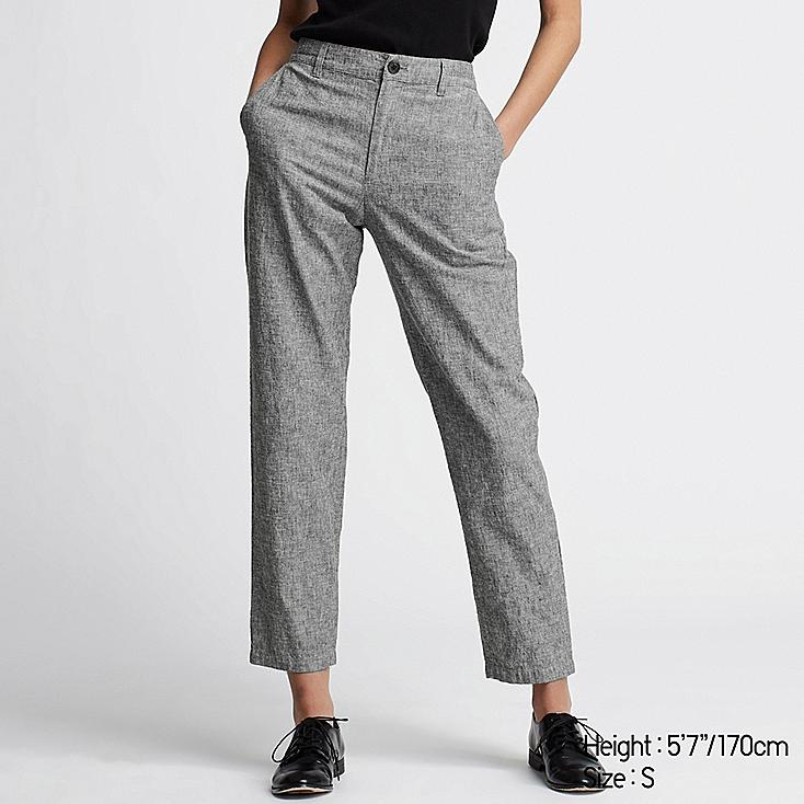 WOMEN LINEN COTTON TAPERED PANTS, DARK GRAY, large