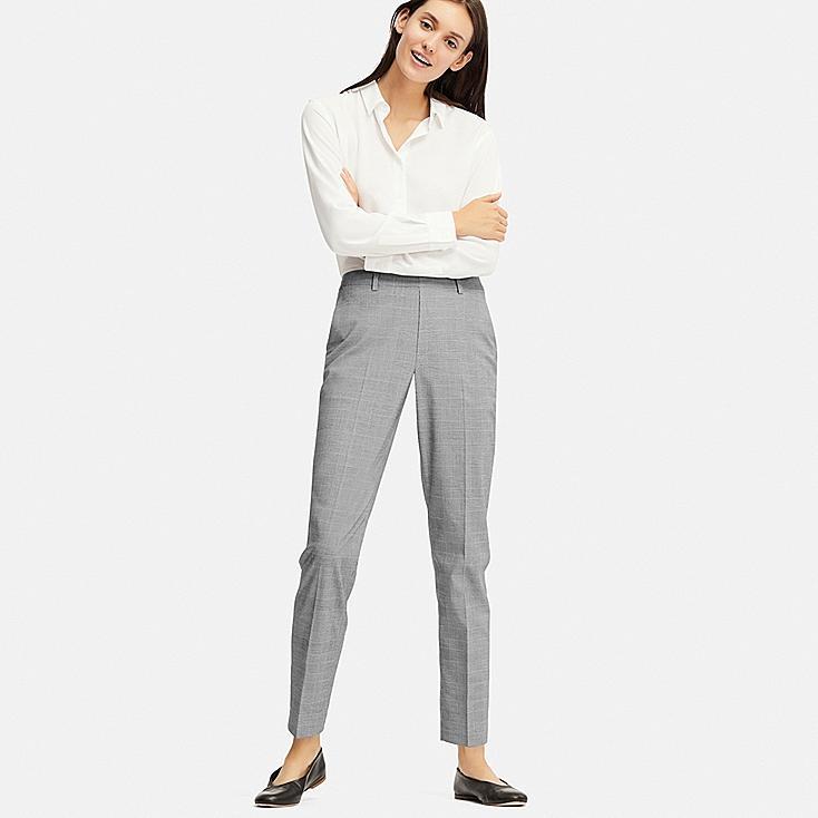 WOMEN EZY ANKLE-LENGTH PANTS (GLEN CHECK), DARK GRAY, large