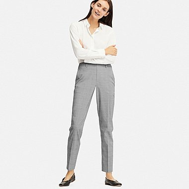 WOMEN EZY ANKLE-LENGTH PANTS (GLEN CHECK), DARK GRAY, medium