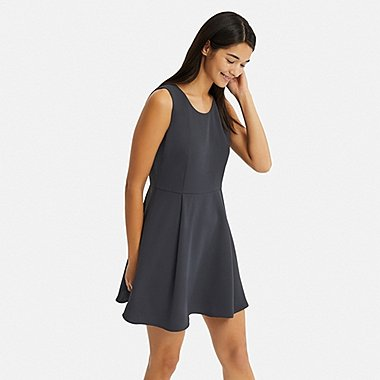 WOMEN DRAPE MINI SLEEVELESS DRESS, DARK GRAY, medium