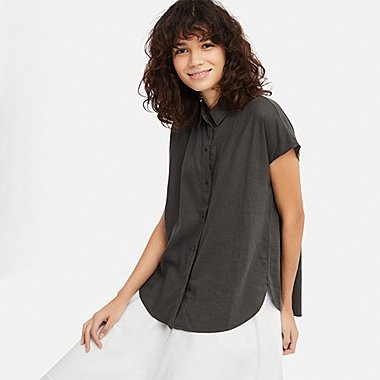 WOMEN LINEN BLEND SHORT-SLEEVE BLOUSE, DARK GRAY, medium