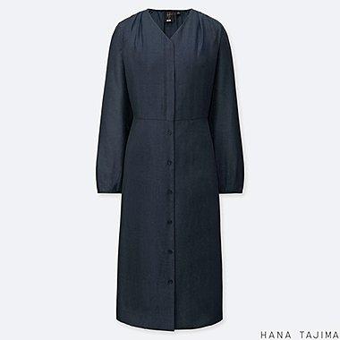 WOMEN TIEBACK LONG-SLEEVE DRESS (HANA TAJIMA), DARK GRAY, medium