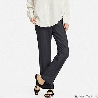 WOMEN RELAXED STRAIGHT PANTS (HANA TAJIMA), DARK GRAY, medium