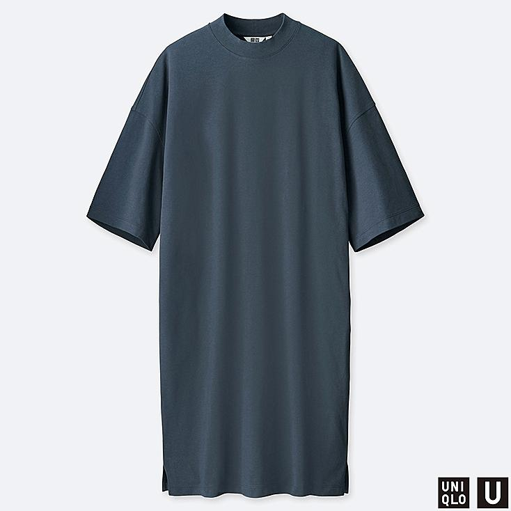 WOMEN U OVERSIZE HALF-SLEEVE T-SHIRT DRESS, DARK GRAY, large