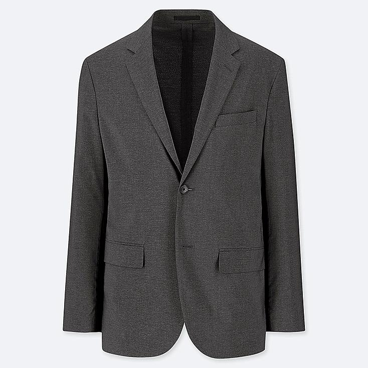 MEN KANDO JACKET (WOOL LIKE), DARK GRAY, large