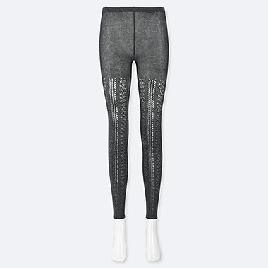 WOMEN LACE LEGGINGS, DARK GRAY, medium